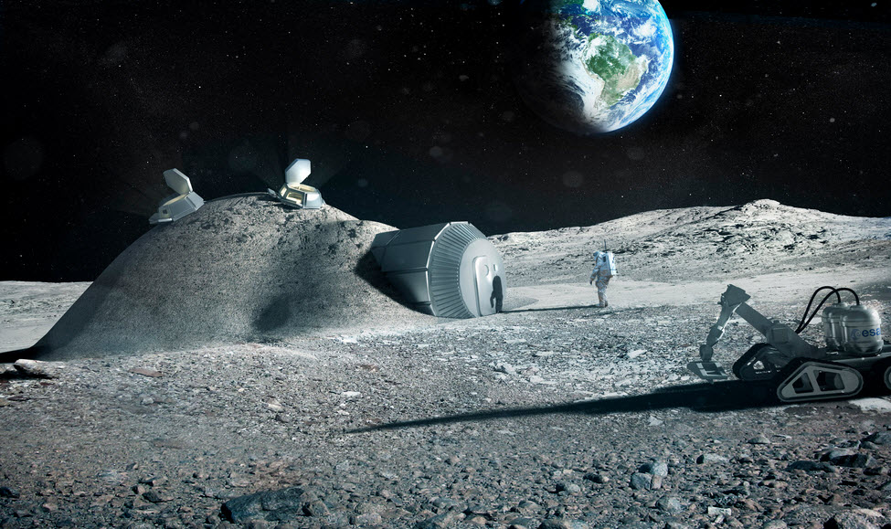 Lunar base made with 3d printing (credit: esa)