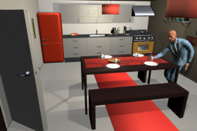 "MIT's ""VirtualHome"" system aims to teach artificial agents a range of chores, including setting the table and making coffee. (credit: MIT CSAIL)"