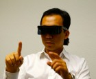 Atheer CTO Allen Yang wearing a prototype visor employing their 3D interface technology (credit: Atheer)