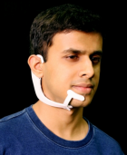 MIT Media Lab researcher Arnav Kapur demonstrates the AlterEgo project (credit: Lorrie Lejeune/MIT)</p> <p>Image: Lorrie Lejeune/MIT