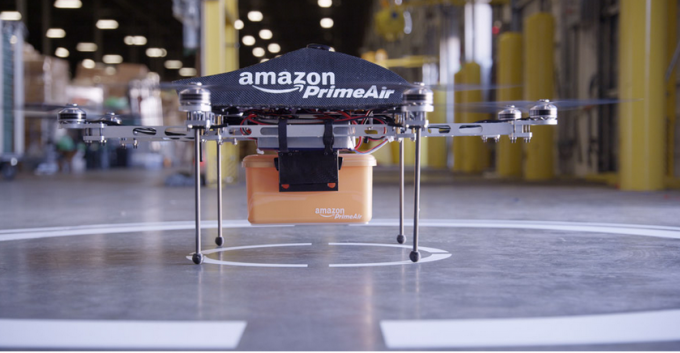 Amazon Prime Air drone in warehouse