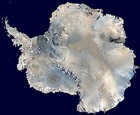 A satellite composite image of Antarctica (credit: Wikimedia Commons)
