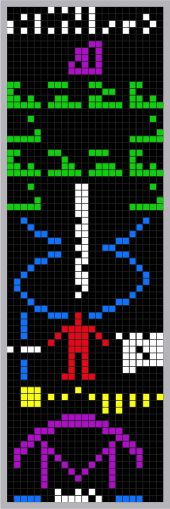 (A graphical representation of the Arecibo message, sent as radio waves into space in an attempt to actively communicate human existence to alien civilizations. credit: Wikipedia)