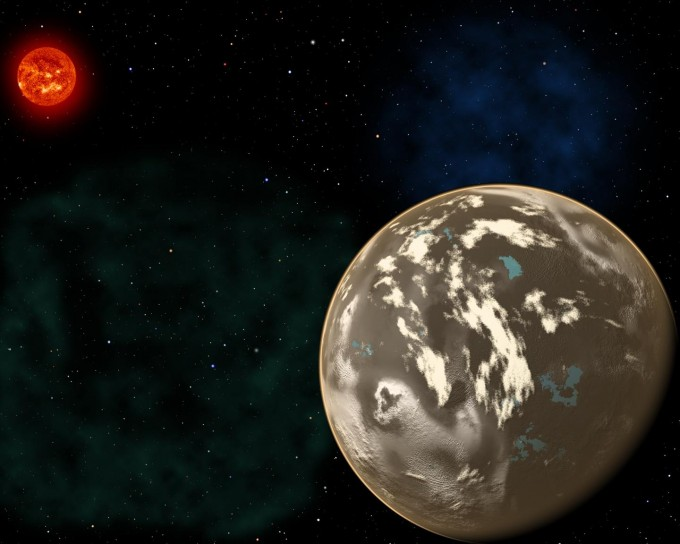 In this artist's conception, a carbon planet orbits a sunlike star in the early universe. Young planetary systems lacking heavy chemical elements but relatively rich in carbon could form worlds made of graphite, carbides and diamond rather than Earth-like silicate rocks. Blue patches show where water has pooled on the planet's surface, forming potential habitats for alien life. (credit: Christine Pulliam (CfA). Sun image: NASA/SDO)