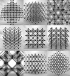 Assemblies of the cellular composite material are seen from different perspectives, showing the repeating &quot;cuboct&quot; lattice structure, made from many identical flat cross-shaped pieces.<br /> PHOTO COURTESY OF KENNETH CHEUNG