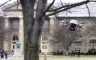 Miniature autonomous flying robot avoids a tree on the Cornell Arts Quad (credit: Saxena lab)