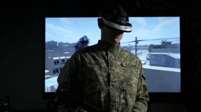 "A soldier using ""Bravemind"" VR therapy (credit: USC Institute for Creative Technologies)"