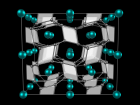 Crystal structure of FeB4 predicted from first principles and confirmed experimentally. The iron atoms (small spheres) are embedded in a rigid three-dimensional framework formed by boron atoms (small spheres)