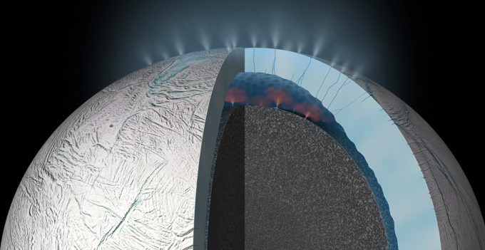 During Cassini's deepest dive through the plume of Saturnian moon Enceladus, Southwest Research Institute scientists discovered hydrogen gas in the erupting material in the plume. This discovery provides further evidence for hydrothermal activity (illustrated here) and heightens the possibility that the ocean of Enceladus could have conditions suitable for microbial life. (credit: NASA/JPL-Caltech)