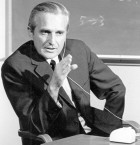 Douglas C. Engelbart with an early prototype of the computer mouse in 1968 (credit: SRI International)