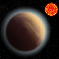 Artist's impression  of atmosphere around super-Earth planet GJ 1132b (credit: MPIA)