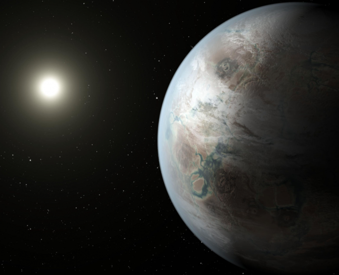 Artist's concept exoplanet Kepler-452b, the first near-Earth-size world to be found in the habitable zone of a star similar to our Sun. (credit: NASA Ames/JPL-Caltech/T. Pyle)