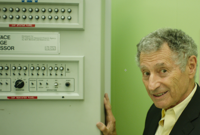 UCLA professor Leonard Kleinrock, recreates the scene of the first internet communication from a closet-size computer (credit: Magnolia Pictures)