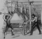 An 1844 engraving from the Penny magazine, showing a post-1820s Jacquard loom (credit: public domain/Penny Magazine)