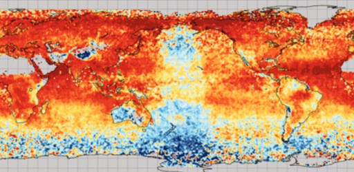 Correlation of aerosol optical depth for the same instrument [the Moderate Resolution Imaging Spectroradiometer (MODIS)] operating on different satellites (Terra and Aqua) for the year 2008. The visualization reveals that there is a zero-correlation anomaly centered on the date line with the shape of an orbital character. [Image courtesy of NASA/Goddard Space Flight Center (G. Leptoukh)]