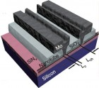Schematic of a set of molybdenum end-contacted nanotube transistors (Qing Cao et al./Science)