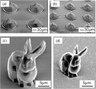 Two microstructures made with the new material, containing the highest concentration of RDGE. Left: Pre-charring. These pyramid and bunny models did not respond to the preferred method of 3-D shaping, so they were created using an alternative process. Right: Post-charring. Notice that the pyramid and bunny shrink significantly less than those made from the material with a lower concentration of RDGE. Credit: Optical Materials Express.