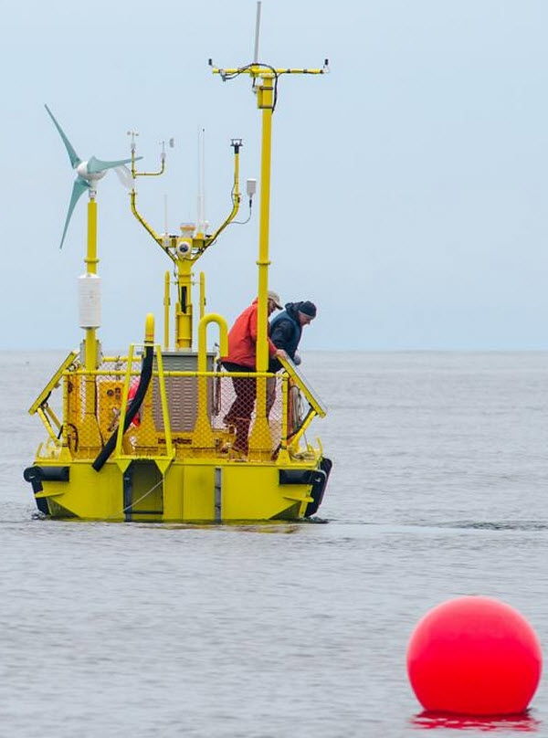 The Ocean Sentinel, one of the nation's first wave-energy testing devices, has been deployed off the Oregon Coast (credit: Pat Kight, Oregon Sea Grant)