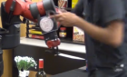 Robot clerk 'attacks' human