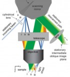 This schematic depicts SCAPE's imaging geometry. The light sheet is swept at the sample by slowly moving a polygonal mirror mounted on a galvanometer motor. This alters the angle at which the light is incident at the edge of the objective's back aperture, causing the beam to sweep across the sample. The light emitted by fluorophores within this illuminated plane travels back through the same objective lens, and is de-scanned by the same polygonal mirror (from an adjacent facet). This light forms an oblique image of the illuminated plane that stays stationary and aligned with the illumination plane, even though the light sheet is moving through the sample (just as a confocal pinhole stays aligned with the scanning illuminated focal point in laser scanning confocal microscopy). So with one (<5 degree) movement of the polygon, the entire volume is sampled. (Credit: Elizabeth Hillman, Columbia Engineering)