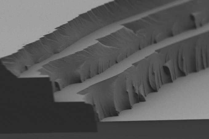 Solar thermal fuel polymer film comprised of three distinct layers (4 to 5 microns in thickness for each). Cross-linking after each layer enables building up films of tunable thickness. (credit: Courtesy of the researchers)