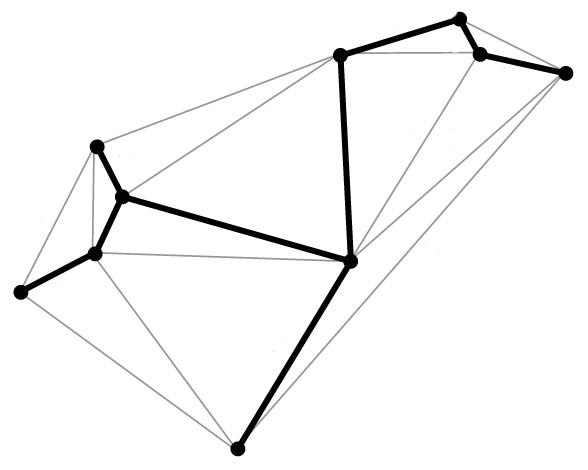 The boldfaced line, known as a spanning tree, follows the desired geometric shape, touching each vertex just once. A spanning tree algorithm is used in the new DNA origami method to map out the proper routing path for the DNA strand. (credit: Public Domain)