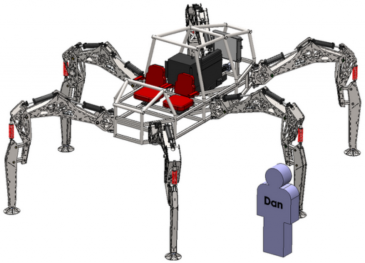 Wanna take a ride? Sorry, you'll have to pledge first. Stompy is a work in progress. (Credit: Hexapod)