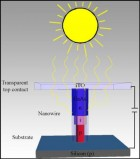 The figure shows that the sun's rays are drawn into a nanowire, which stands on a substrate. At a given wavelength the sunlight is concentrated up to 15 times. Consequently, there is great potential in using nanowires in the development of future solar cells. (Credit: Niels Bohr Institute)