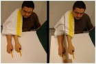 Supernumerary hand illusion (left) vs. traditional rubber hand illusion (right -- note added screen) (PLoS)