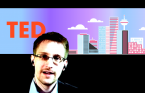 TED 2014 Edward Snowden with Vancouver skyline thumbnail
