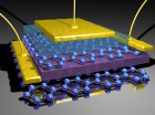 Tunnelling transistor based on vertical graphene heterostructures. Tunnelling current between two graphene layers can be controlled by gating (Credit: Condensed Matter Physics Group/University of Manchester)