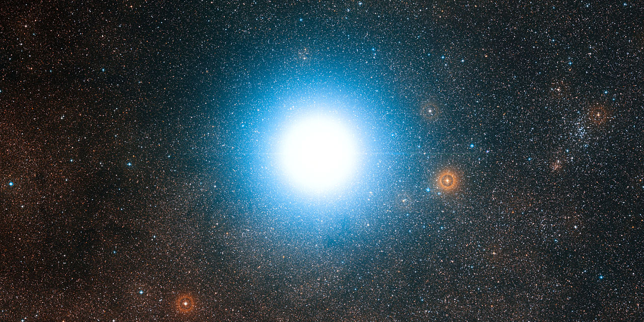 Artwork: The bright star Alpha Centauri and its surroundings