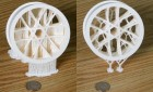 New software algorithms reduce the time and material needed to produce objects with 3-D printers. Here, the wheel on the left was produced with conventional software and the one on the right with the new algorithms. (Credit: Purdue University photo/Bedrich Benes)