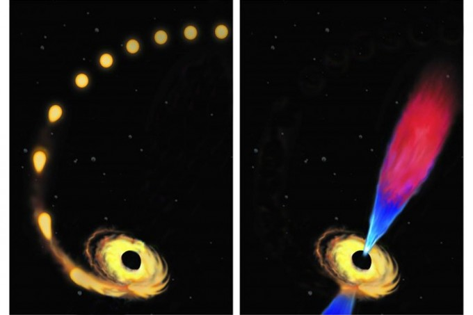 """Artist's conception of a star being drawn toward a black hole and destroyed (left), and the black hole later emitting a """"jet"""" of plasma composed of the debris left from the star's destruction. (credit: modified from an original image by Amadeo Bachar.)"""