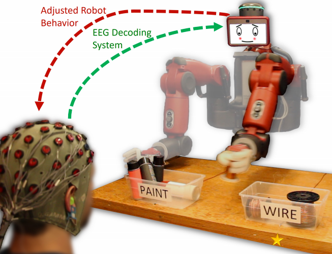 The robot is informed that its initial motion was incorrect based upon real-time decoding of the observer's EEG signals, and it corrects its selection accordingly to properly sort an object. (credit: Andres F. Salazar-Gomez et al./MIT, Boston University)