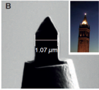 "A new microscopy tool promises to revolutionize nanoscale imaging. Left, a design schematic of the ""campanile"" microscopy tip. Right, an electron micrograph of the tip and, inset, the UC Berkeley campanile bell-tower for which it is named. (Credit: Lawrence Berkeley National Lab)"
