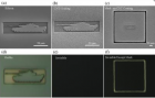 Scanning electron microscope images show a tank etched out of silicon, with and without a carbon nanotube coating (top row). When the same structures are viewed under white light with an optical microscope (bottom row), the nanotube coating camouflages the tank structure against a black background. (credit: L. J. Guo et al., University of Michigan)