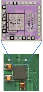 Bottom: photograph of the CMOS circulator integrated circuit on a printed circuit board, interfaced with off-chip inductors. Inset: microphotograph of CMOS circulator integrated circuit. (credit: Negar Reiskarimian, Columbia Engineering)