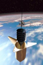 Climber ascends space elevator, heading spaceward from its aeroshell (credit: Frank Chase/Chase Design Studios)