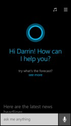 Cortana screen on Windows Phone 8.1 (credit: Microsoft)