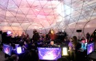 In front of an audience, the collective neurofeedback of 20 participants were projected on the 360° surface of the semi-transparent dome as artistic video animations with soundscapes generated based on a pre-recorded sound library and improvisations from live musicians (credit: Natasha Kovacevic et al./PLoS ONE/Photo: David Pisarek)