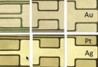 Optical microscopy images of patterned gold on polyimide film substrate (top) prepared via microcontact printing and after platinum and silver electrodes deposition (bottom) by electroplating (credit: Xiaosong Du et al./ Xiaosong Du/ ECS Journal of Solid State Science and Technology)