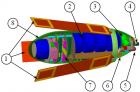 Illustration of an endoscopic capsule, propelled by magnetic swimming tails (1). The capsule payload is a micro-camera (5) and tool for biopsy (4). The power source is non-magnetic batteries (2). There is also electronics for command and control and communication (7), housing (8), and an antenna (3) for the RF transceiver. (Credit: Gábor Kósa et al.)