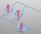 X-ray beams could one day be used to write superconducting circuits. Solid lines indicate electrical connections; semicircles indicate superconducting junctions, whose states are indicated by red arrows (credit: UCL Press Office)