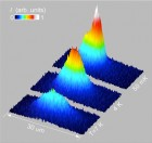 As excitons cool to a fraction of a degree above absolute zero, they condense at the bottom of an electrostatic trap and spontaneously form coherent matter waves. Creating indirect excitons, with electrons and holes in separate layers of a semiconductor, allowed them to persist long enough to cool into this state (credit: UC San Diego)