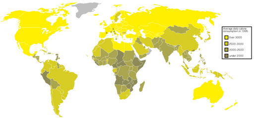 Average daily calorie consumption in countries (credit: Interchange88/Wikimedia Commons)