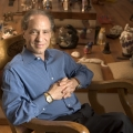 Ray Kurzweil (with a few of his collection of 400 cat figurines) Circa 2003