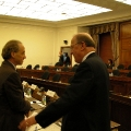 Ray Kurzweil speaking with Sherwood Boehlert, Chairman of the House Science Committee, on April 9, 2003, after testifying on the societal impact of nanotechnology