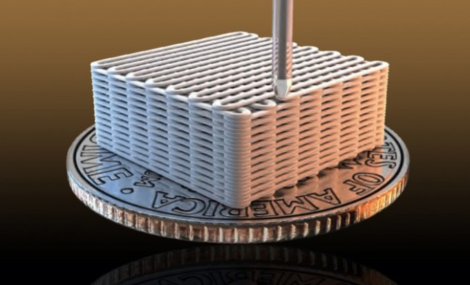 Lawrence Livermore researchers have made graphene aerogel microlattices with an engineered architecture via a 3D printing technique known as direct ink writing (credit: Ryan Chen/LLNL)