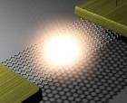 Illustration of light emission from electrically biased suspended graphene (credit: Young Duck Kim/Columbia Engineering)